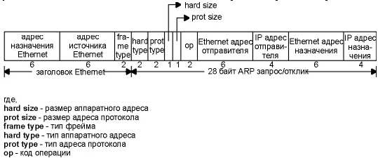 Формат ARP запроса или отклика